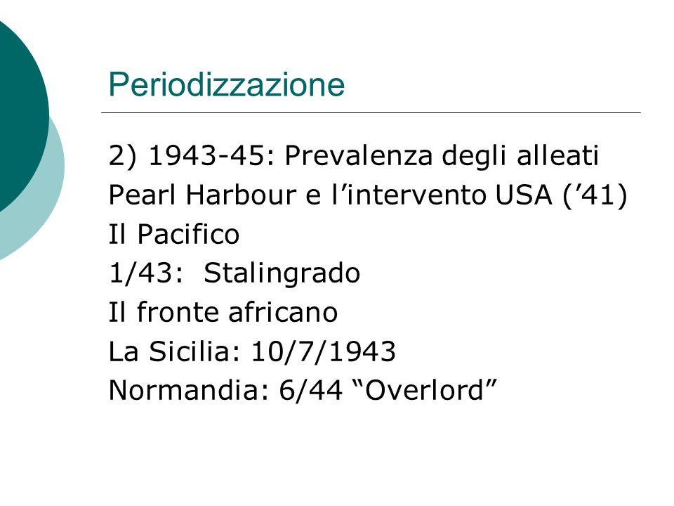 Periodizzazione 2) 2/45: Yalta 4/45: Insurrezione in Italia 5/45: sconfitta Germania 9/45: sconfitta Giappone