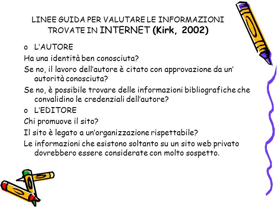 LINEE GUIDA PER VALUTARE LE INFORMAZIONI TROVATE IN INTERNET (Kirk, 2002) oLAUTORE Ha una identità ben conosciuta.