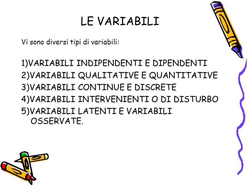 LE VARIABILI Vi sono diversi tipi di variabili: 1)VARIABILI INDIPENDENTI E DIPENDENTI 2)VARIABILI QUALITATIVE E QUANTITATIVE 3)VARIABILI CONTINUE E DISCRETE 4)VARIABILI INTERVENIENTI O DI DISTURBO 5)VARIABILI LATENTI E VARIABILI OSSERVATE.
