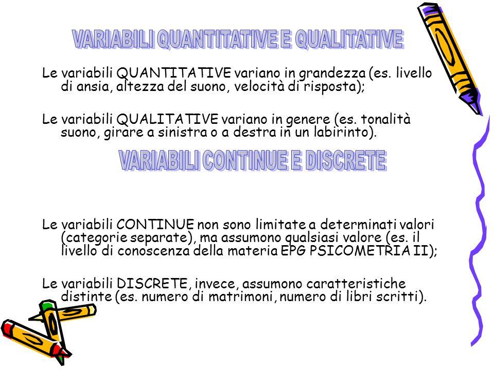 Le variabili QUANTITATIVE variano in grandezza (es.