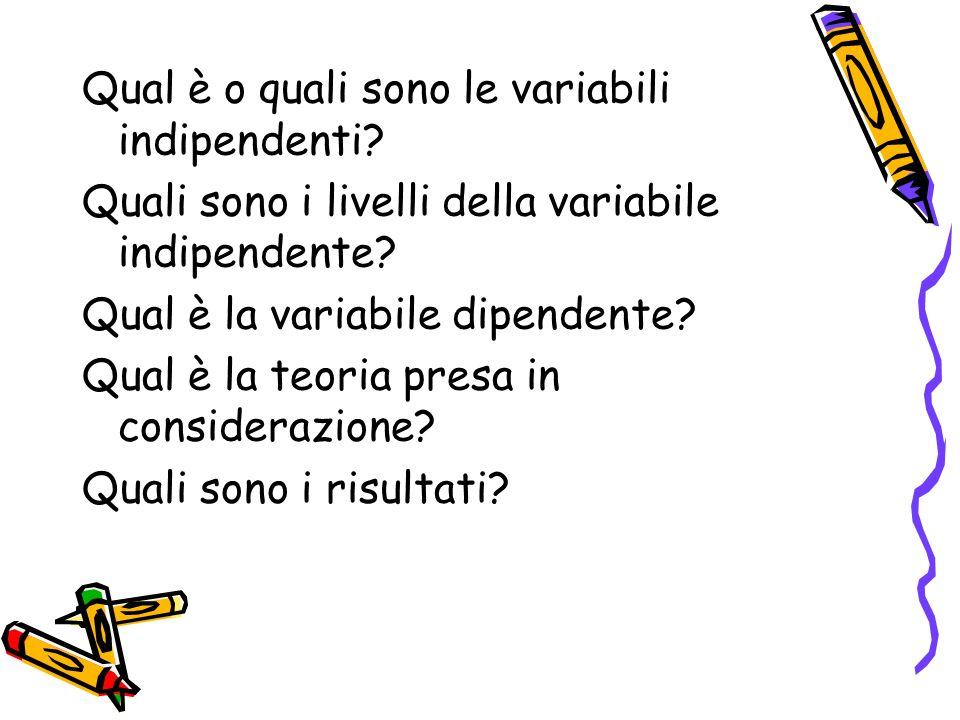 Qual è o quali sono le variabili indipendenti.Quali sono i livelli della variabile indipendente.