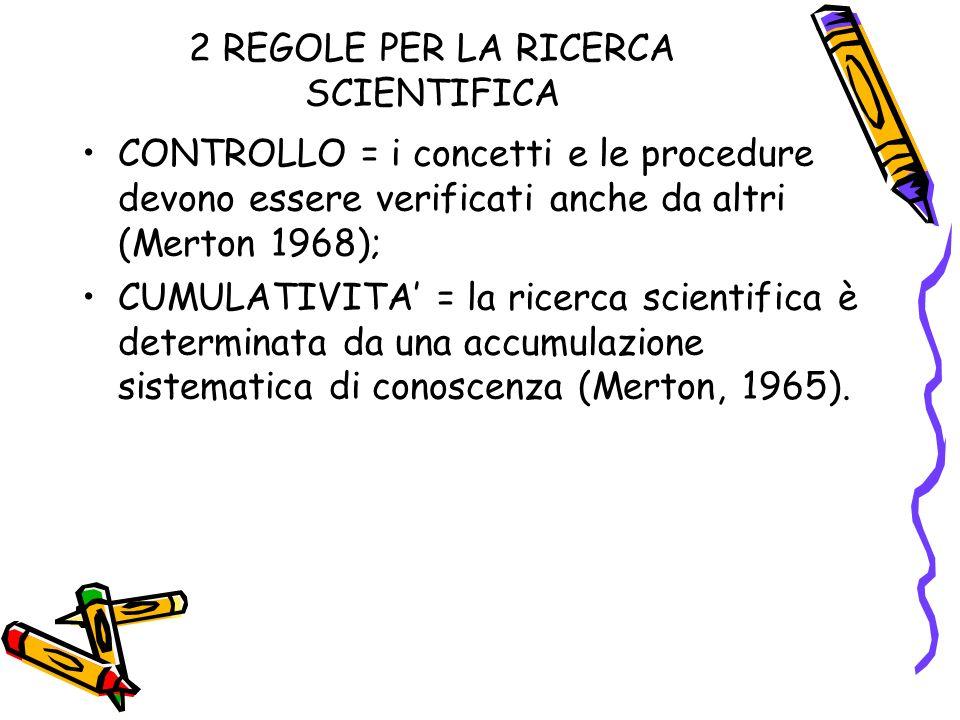 2 REGOLE PER LA RICERCA SCIENTIFICA CONTROLLO = i concetti e le procedure devono essere verificati anche da altri (Merton 1968); CUMULATIVITA = la ricerca scientifica è determinata da una accumulazione sistematica di conoscenza (Merton, 1965).