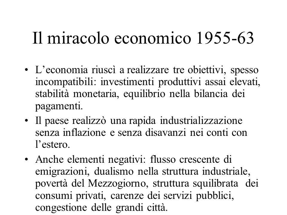 Il miracolo economico 1955-63 Leconomia riuscì a realizzare tre obiettivi, spesso incompatibili: investimenti produttivi assai elevati, stabilità mone