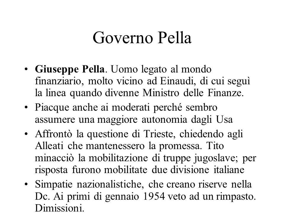 Governo Pella Giuseppe Pella. Uomo legato al mondo finanziario, molto vicino ad Einaudi, di cui seguì la linea quando divenne Ministro delle Finanze.