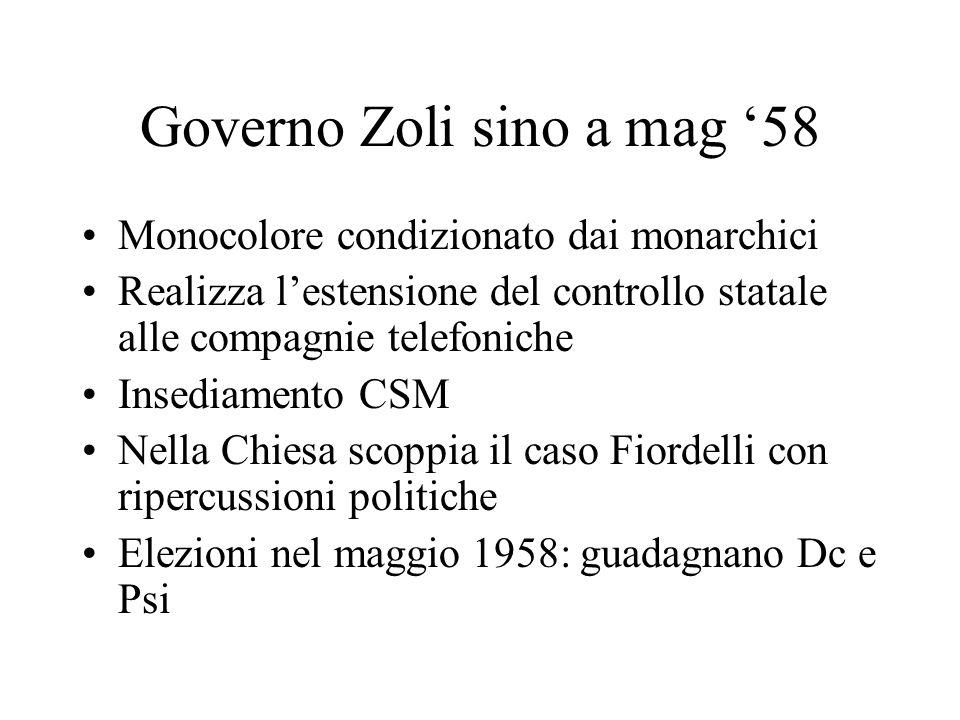 Governo Zoli sino a mag 58 Monocolore condizionato dai monarchici Realizza lestensione del controllo statale alle compagnie telefoniche Insediamento C