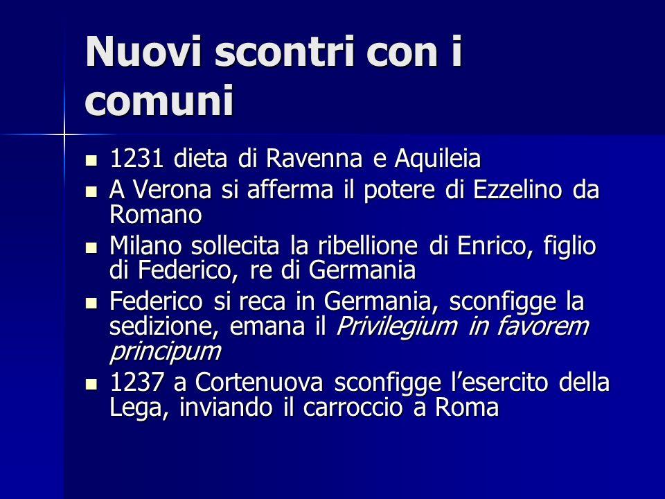 Nuovi scontri con i comuni 1231 dieta di Ravenna e Aquileia 1231 dieta di Ravenna e Aquileia A Verona si afferma il potere di Ezzelino da Romano A Ver