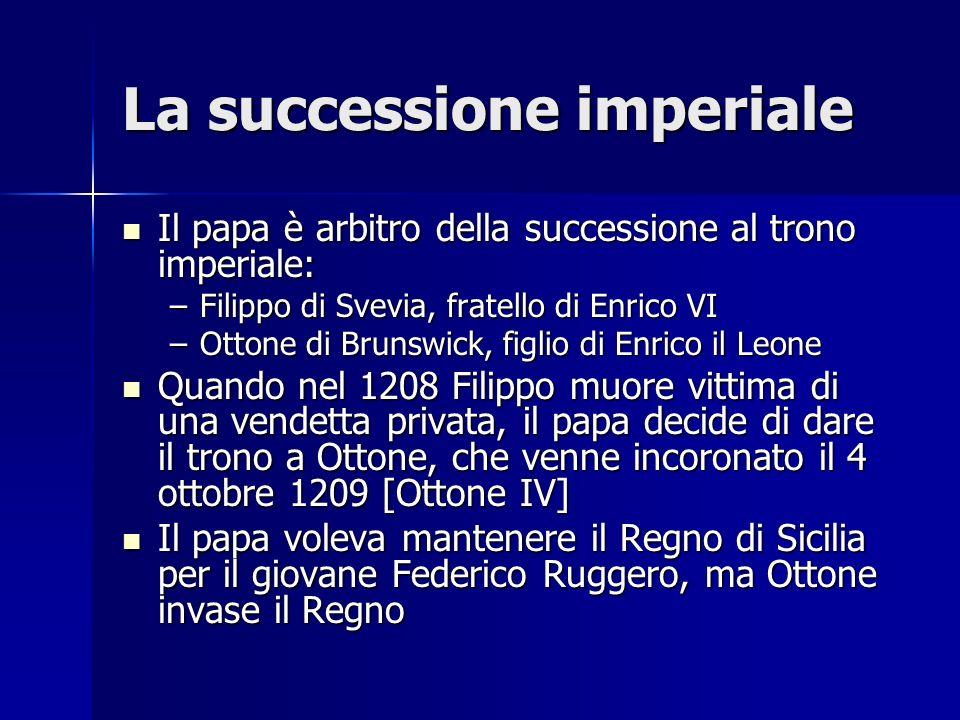 La successione imperiale Il papa è arbitro della successione al trono imperiale: Il papa è arbitro della successione al trono imperiale: –Filippo di S