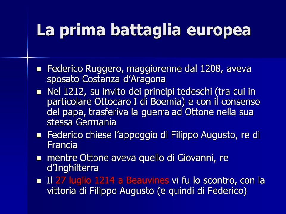 La prima battaglia europea Federico Ruggero, maggiorenne dal 1208, aveva sposato Costanza dAragona Federico Ruggero, maggiorenne dal 1208, aveva sposa