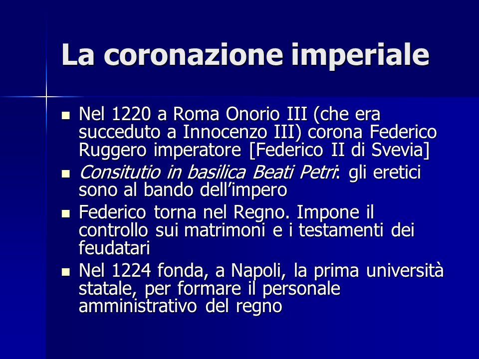 La coronazione imperiale Nel 1220 a Roma Onorio III (che era succeduto a Innocenzo III) corona Federico Ruggero imperatore [Federico II di Svevia] Nel