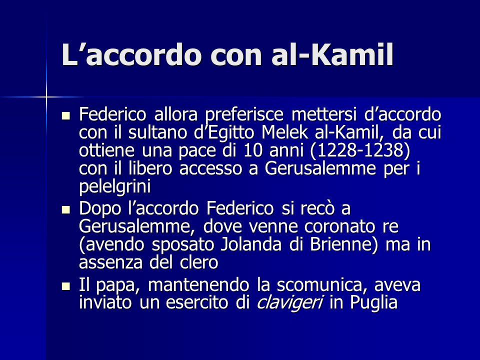 Laccordo con al-Kamil Federico allora preferisce mettersi daccordo con il sultano dEgitto Melek al-Kamil, da cui ottiene una pace di 10 anni (1228-123