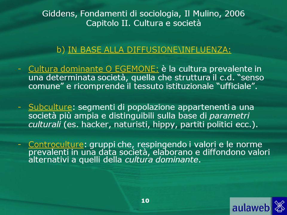 Giddens, Fondamenti di sociologia, Il Mulino, 2006 Capitolo II. Cultura e società 10 b) IN BASE ALLA DIFFUSIONE\INFLUENZA: -Cultura dominante O EGEMON
