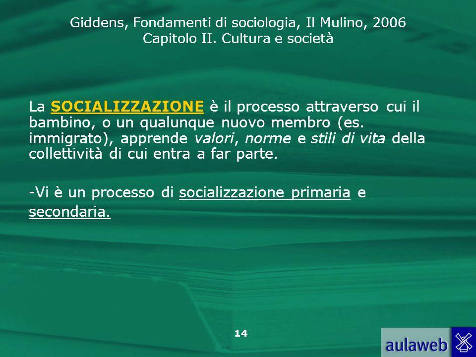 Giddens, Fondamenti di sociologia, Il Mulino, 2006 Capitolo II. Cultura e società 14 La SOCIALIZZAZIONE è il processo attraverso cui il bambino, o un