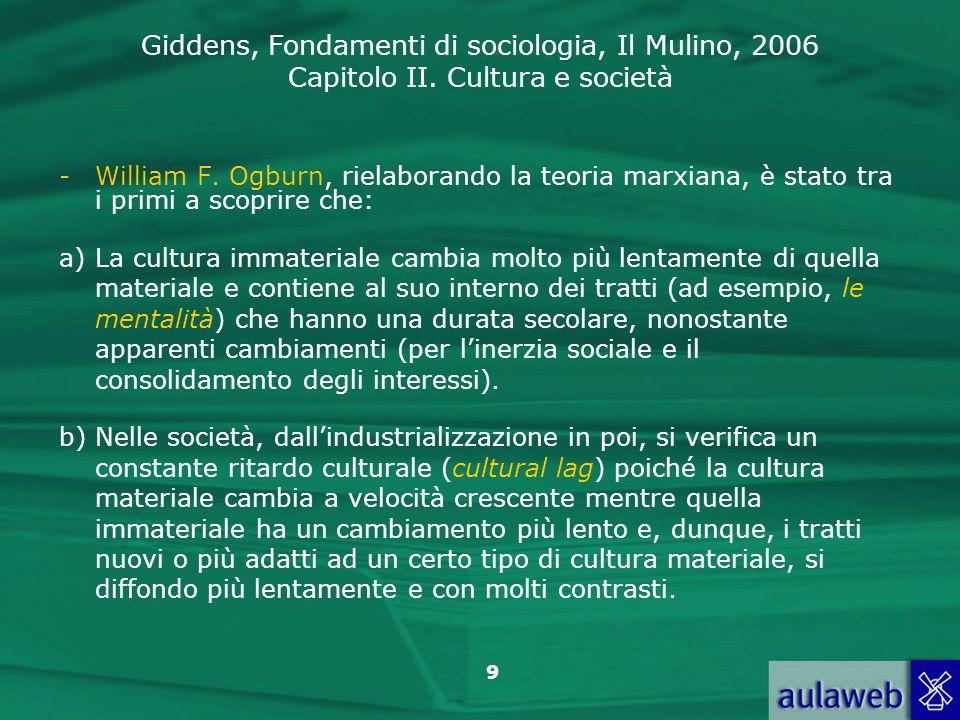 Giddens, Fondamenti di sociologia, Il Mulino, 2006 Capitolo II. Cultura e società 9 -William F. Ogburn, rielaborando la teoria marxiana, è stato tra i