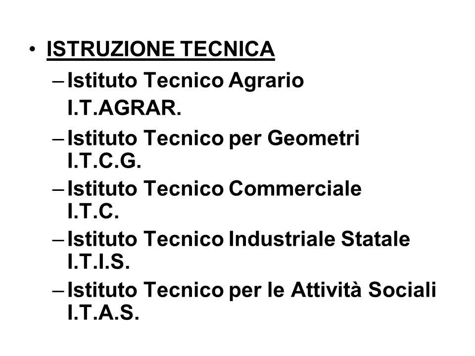 ISTRUZIONE TECNICA –Istituto Tecnico Agrario I.T.AGRAR. –Istituto Tecnico per Geometri I.T.C.G. –Istituto Tecnico Commerciale I.T.C. –Istituto Tecnico