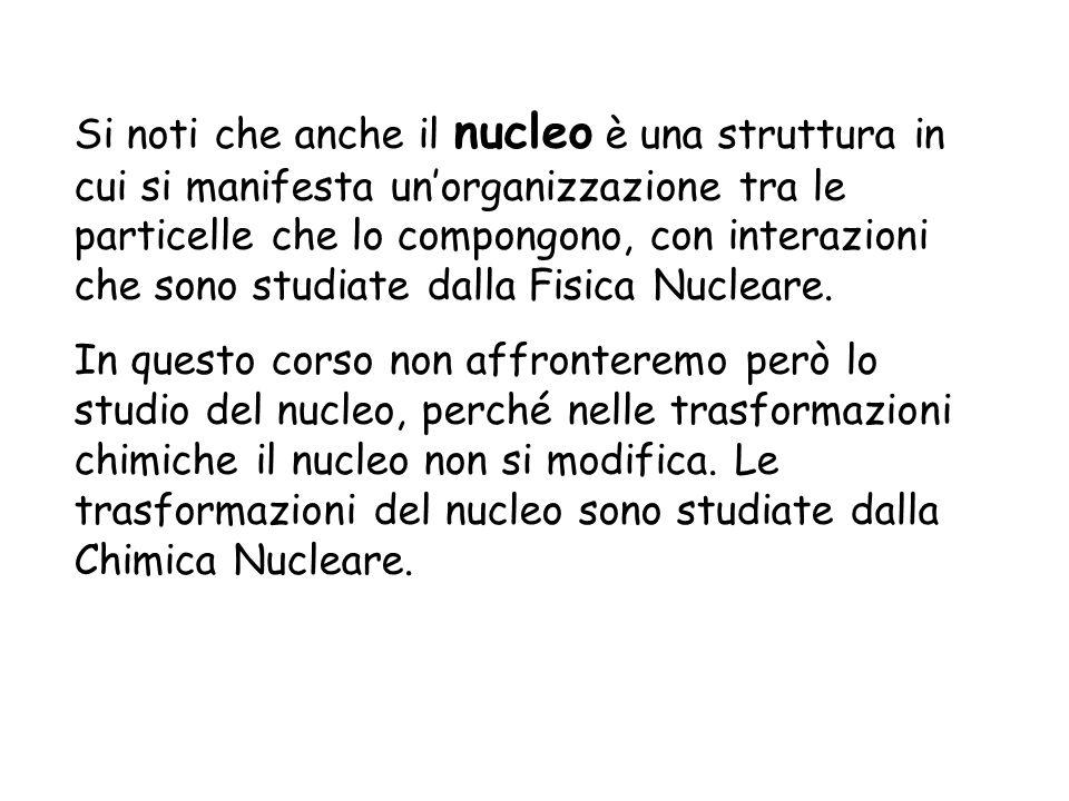 Si noti che anche il nucleo è una struttura in cui si manifesta unorganizzazione tra le particelle che lo compongono, con interazioni che sono studiat