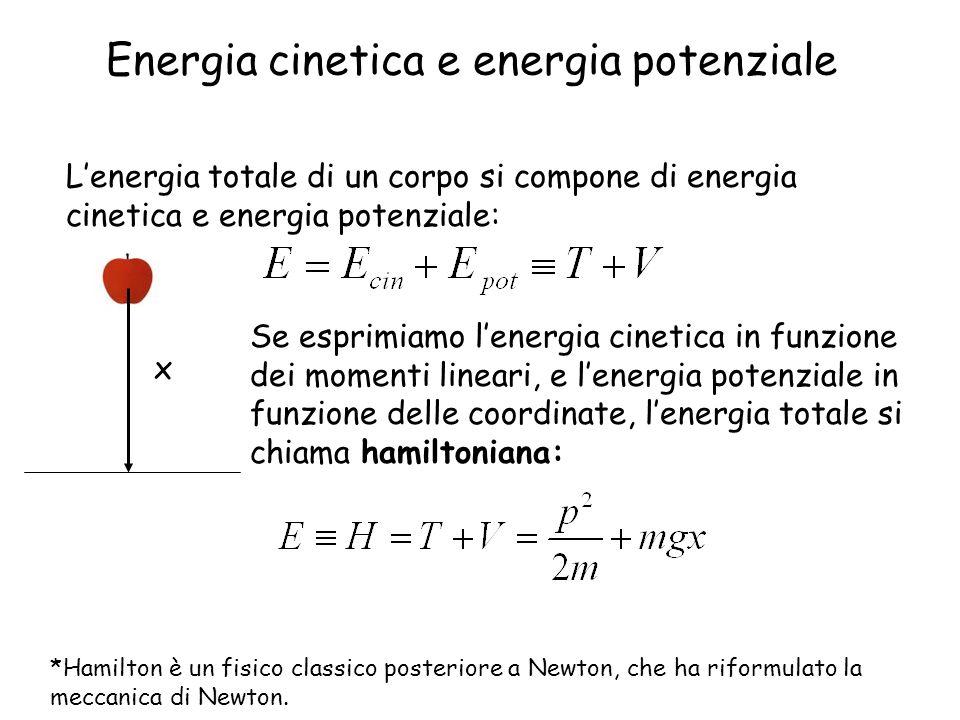 Energia cinetica e energia potenziale Lenergia totale di un corpo si compone di energia cinetica e energia potenziale: Se esprimiamo lenergia cinetica