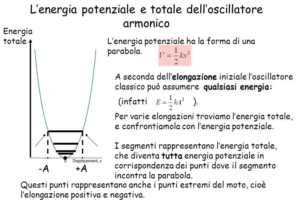Lenergia potenziale e totale delloscillatore armonico Lenergia potenziale ha la forma di una parabola. I segmenti rappresentano lenergia totale, che d