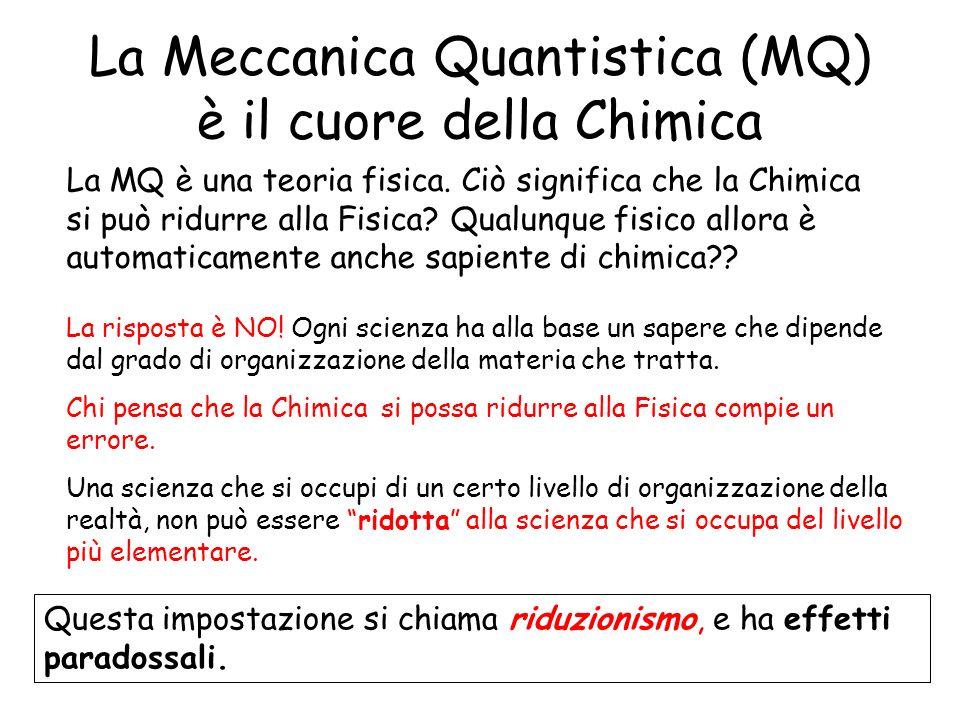 La Meccanica Quantistica (MQ) è il cuore della Chimica La MQ è una teoria fisica. Ciò significa che la Chimica si può ridurre alla Fisica? Qualunque f