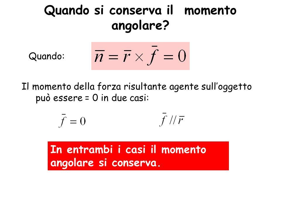 Quando si conserva il momento angolare? Il momento della forza risultante agente sulloggetto può essere = 0 in due casi: In entrambi i casi il momento