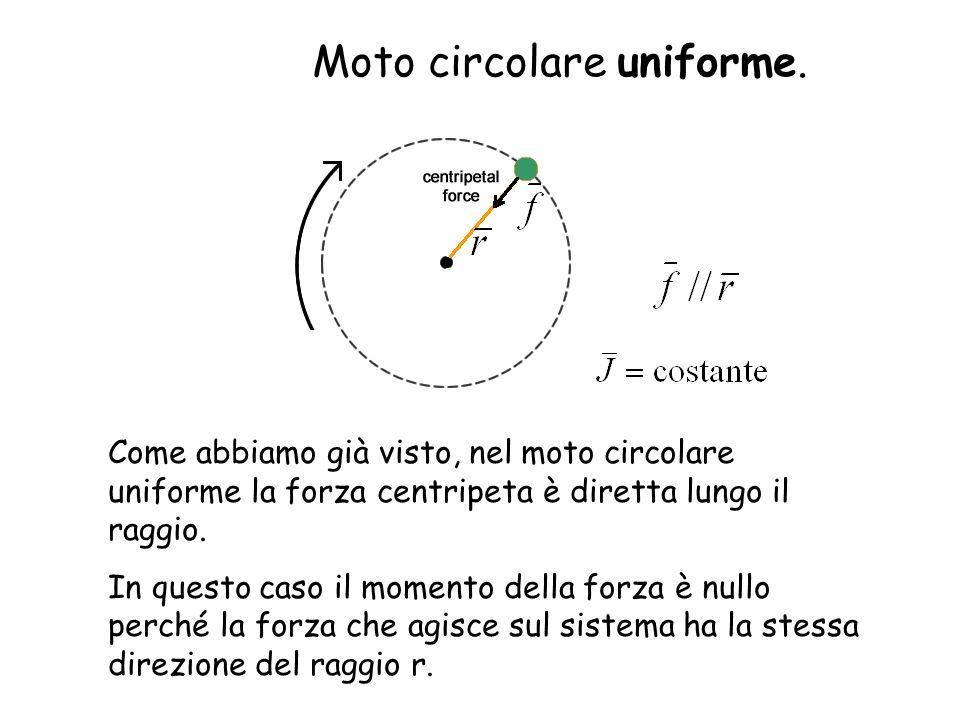 Come abbiamo già visto, nel moto circolare uniforme la forza centripeta è diretta lungo il raggio. In questo caso il momento della forza è nullo perch