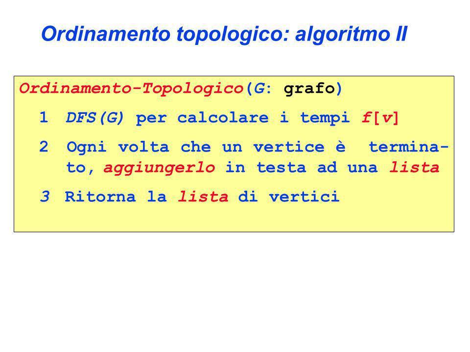 Ordinamento topologico: algoritmo II Ordinamento-Topologico(G: grafo) 1 DFS(G) per calcolare i tempi f[v] 2 Ogni volta che un vertice è termina- to, a