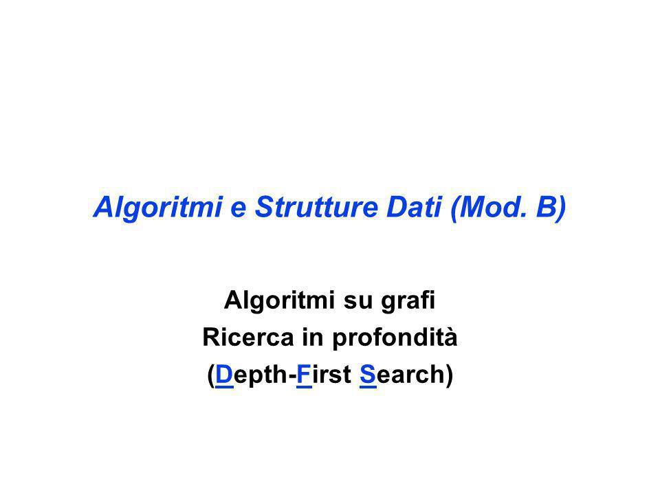 Algoritmi e Strutture Dati (Mod. B) Algoritmi su grafi Ricerca in profondità (Depth-First Search)