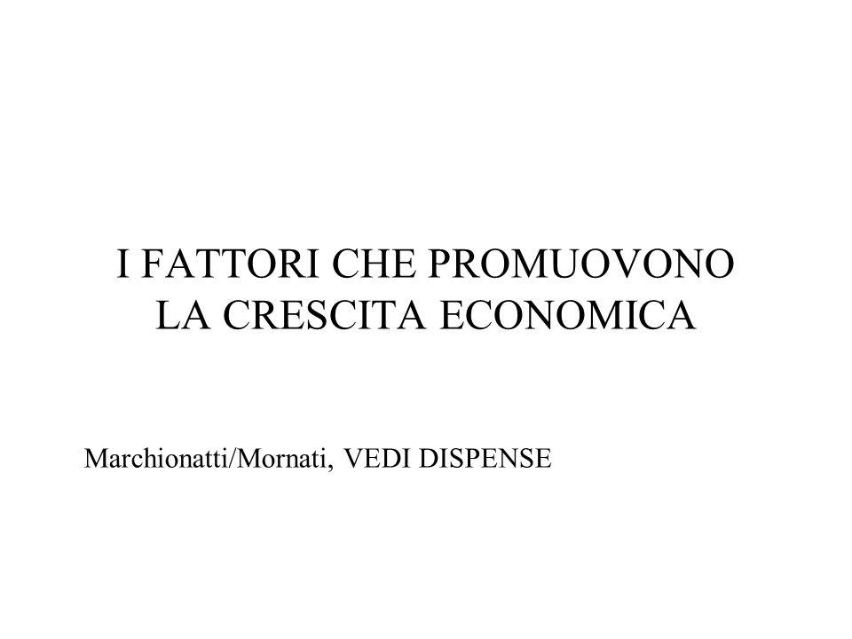I FATTORI CHE PROMUOVONO LA CRESCITA ECONOMICA Marchionatti/Mornati, VEDI DISPENSE