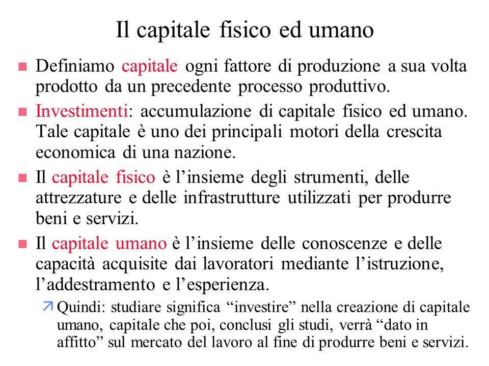 Il capitale fisico ed umano n Definiamo capitale ogni fattore di produzione a sua volta prodotto da un precedente processo produttivo. n Investimenti: