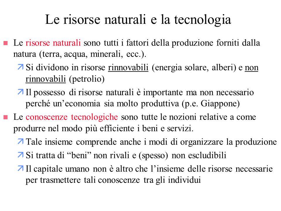 n Le risorse naturali sono tutti i fattori della produzione forniti dalla natura (terra, acqua, minerali, ecc.). äSi dividono in risorse rinnovabili (