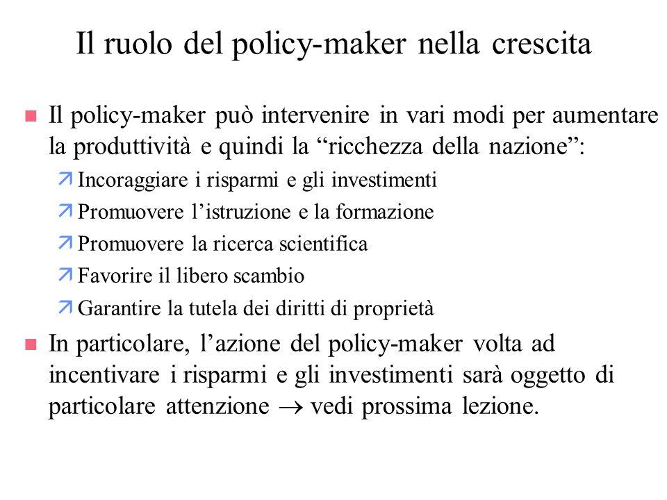 Il ruolo del policy-maker nella crescita n Il policy-maker può intervenire in vari modi per aumentare la produttività e quindi la ricchezza della nazi