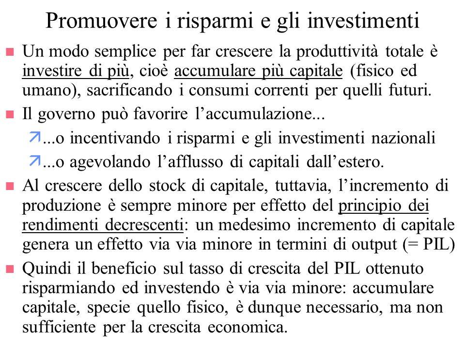 Promuovere i risparmi e gli investimenti n Un modo semplice per far crescere la produttività totale è investire di più, cioè accumulare più capitale (