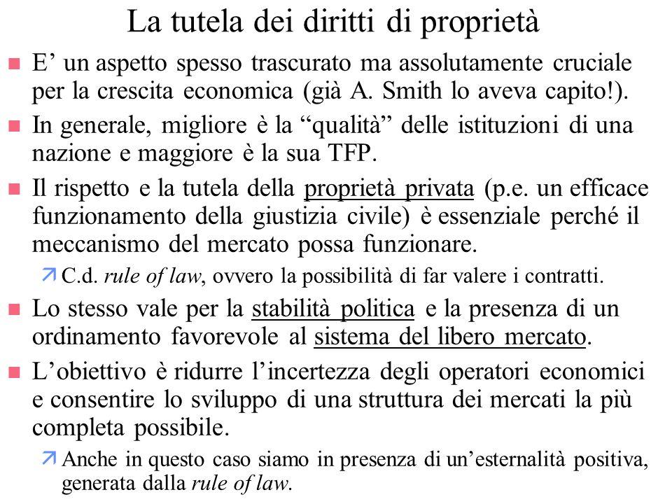 La tutela dei diritti di proprietà n E un aspetto spesso trascurato ma assolutamente cruciale per la crescita economica (già A. Smith lo aveva capito!