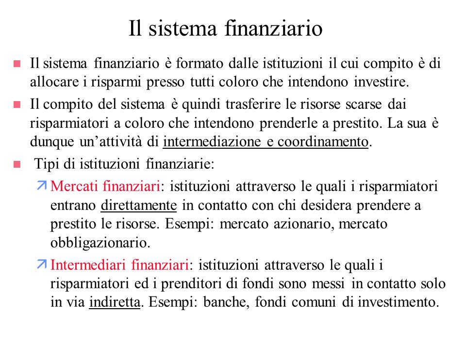 Il sistema finanziario n Il sistema finanziario è formato dalle istituzioni il cui compito è di allocare i risparmi presso tutti coloro che intendono