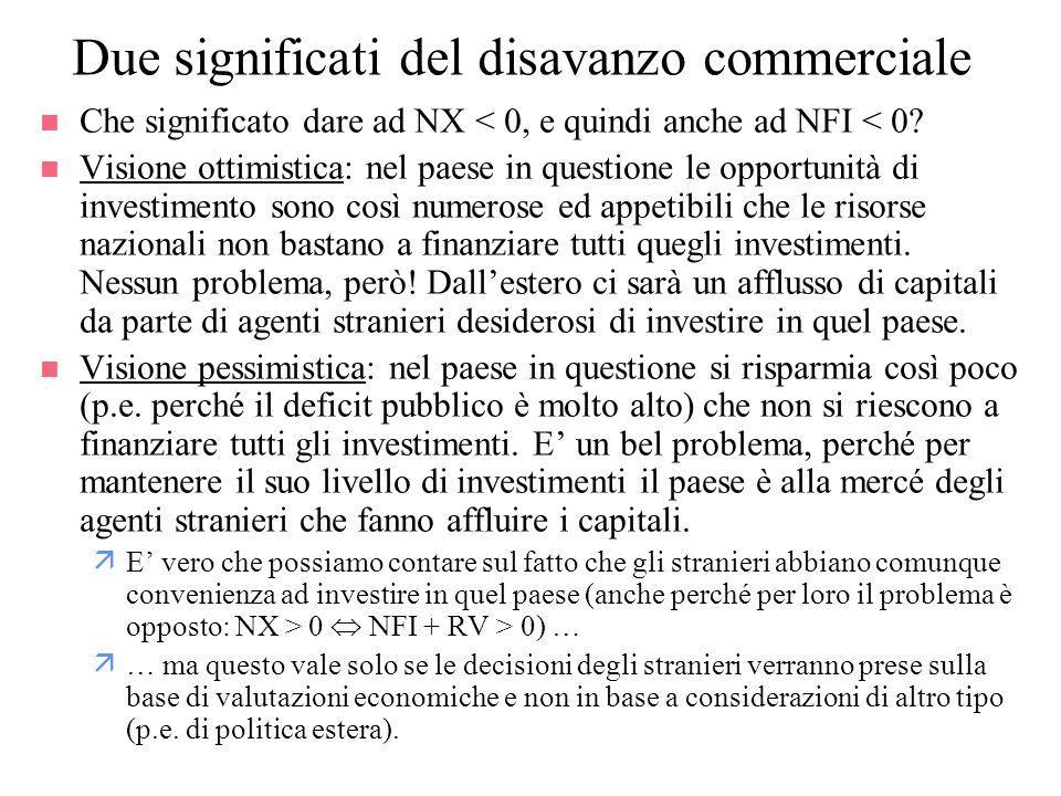 Due significati del disavanzo commerciale n Che significato dare ad NX < 0, e quindi anche ad NFI < 0? n Visione ottimistica: nel paese in questione l