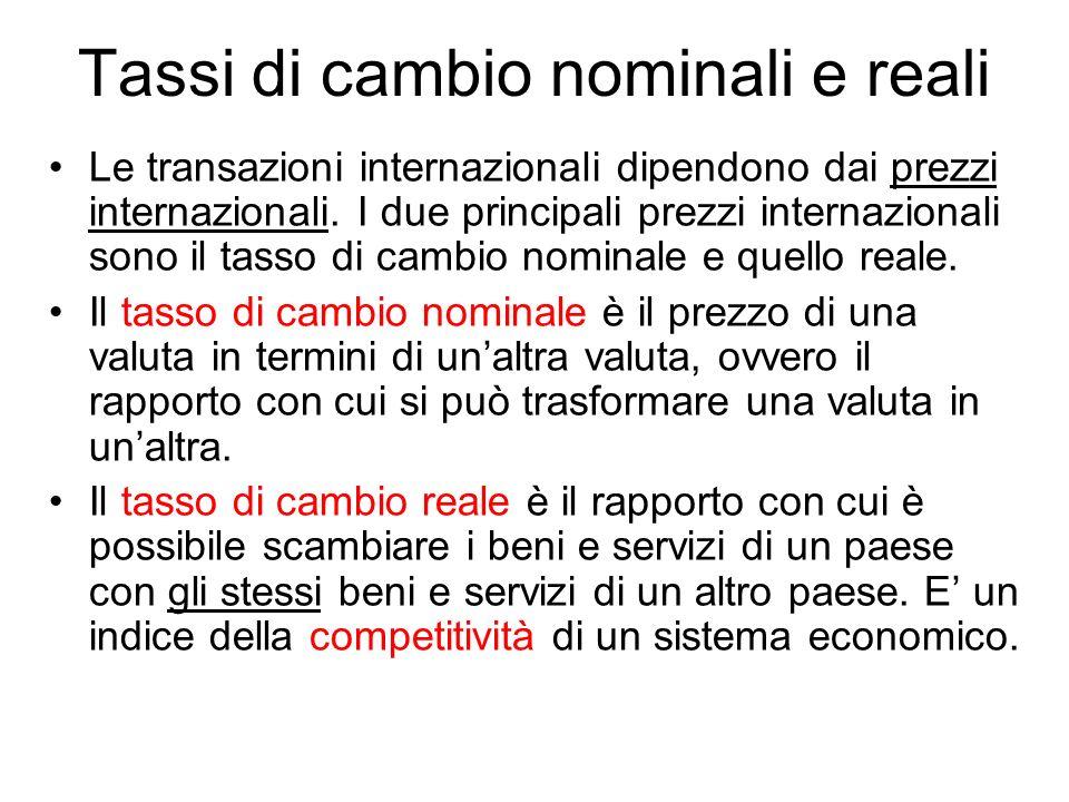 Tassi di cambio nominali e reali Le transazioni internazionali dipendono dai prezzi internazionali. I due principali prezzi internazionali sono il tas
