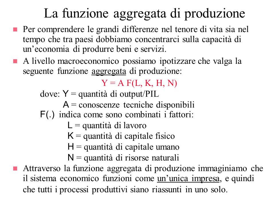 La funzione aggregata di produzione n Per comprendere le grandi differenze nel tenore di vita sia nel tempo che tra paesi dobbiamo concentrarci sulla