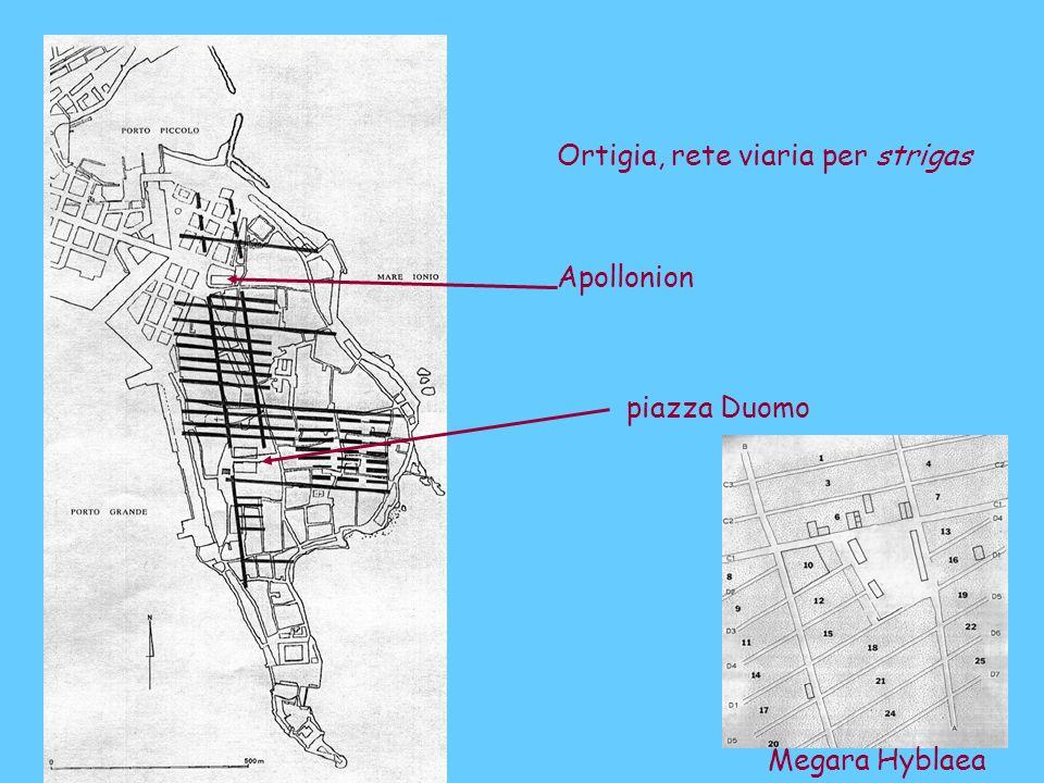 Ortigia, rete viaria per strigas piazza Duomo Apollonion Megara Hyblaea