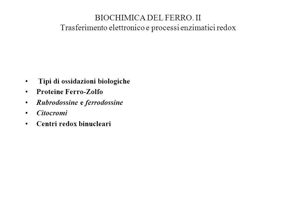 BIOCHIMICA DEL FERRO. II Trasferimento elettronico e processi enzimatici redox Tipi di ossidazioni biologiche Proteine Ferro-Zolfo Rubrodossine e ferr