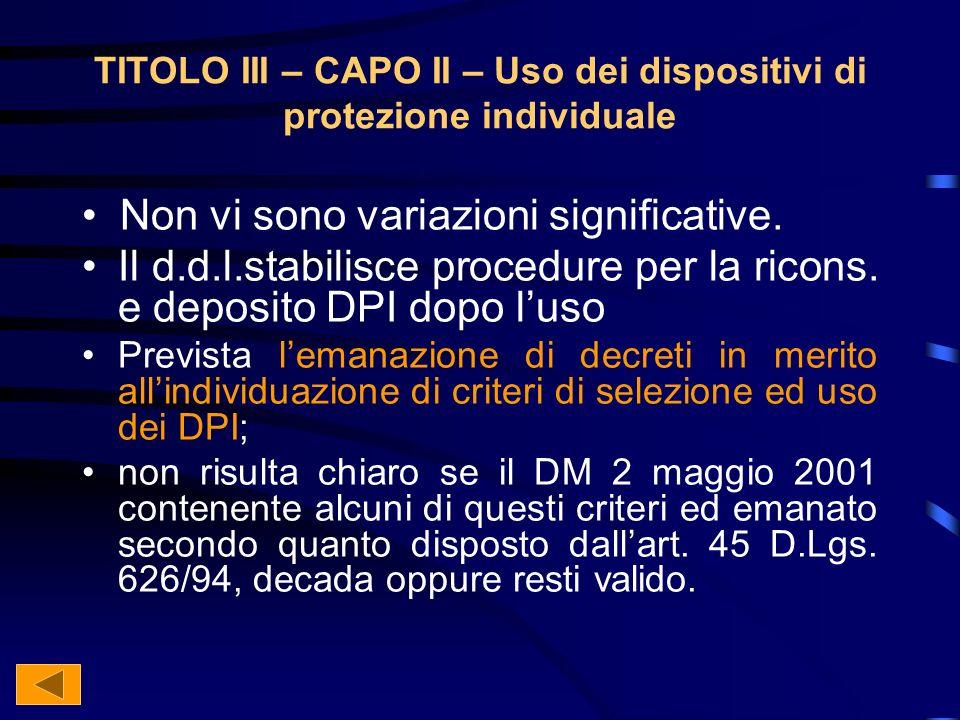 TITOLO III – CAPO II – Uso dei dispositivi di protezione individuale Non vi sono variazioni significative.