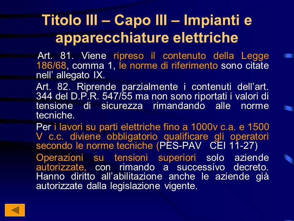 Titolo III – Capo III – Impianti e apparecchiature elettriche Art.