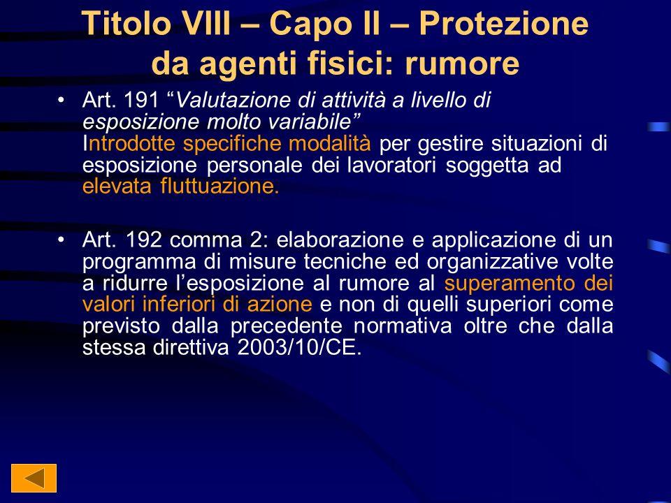 Titolo VIII – Capo II – Protezione da agenti fisici: rumore Art.