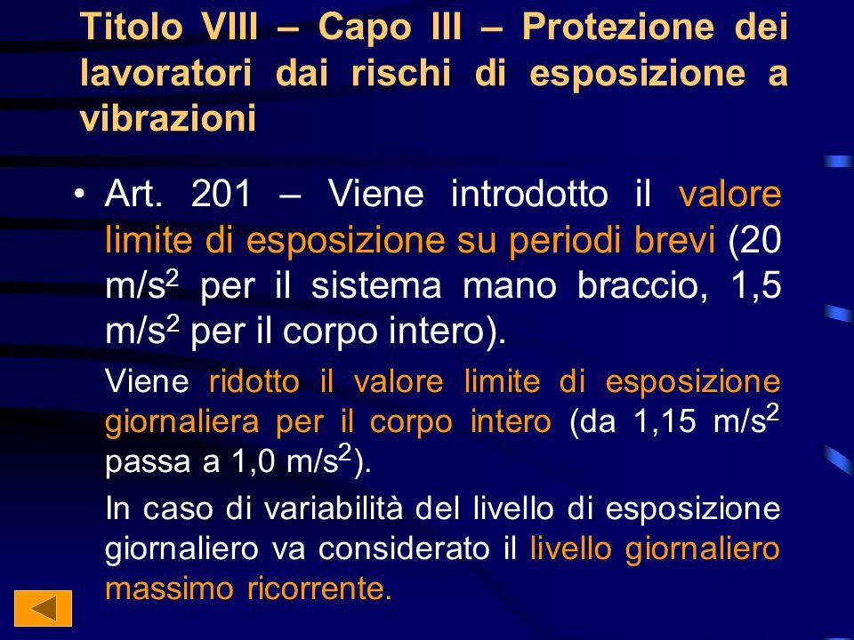 Titolo VIII – Capo III – Protezione dei lavoratori dai rischi di esposizione a vibrazioni Art.