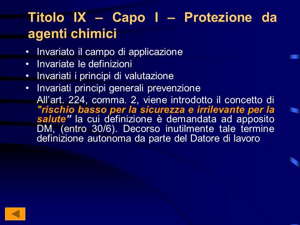 Titolo IX – Capo I – Protezione da agenti chimici Invariato il campo di applicazione Invariate le definizioni Invariati i principi di valutazione Invariati principi generali prevenzione Allart.