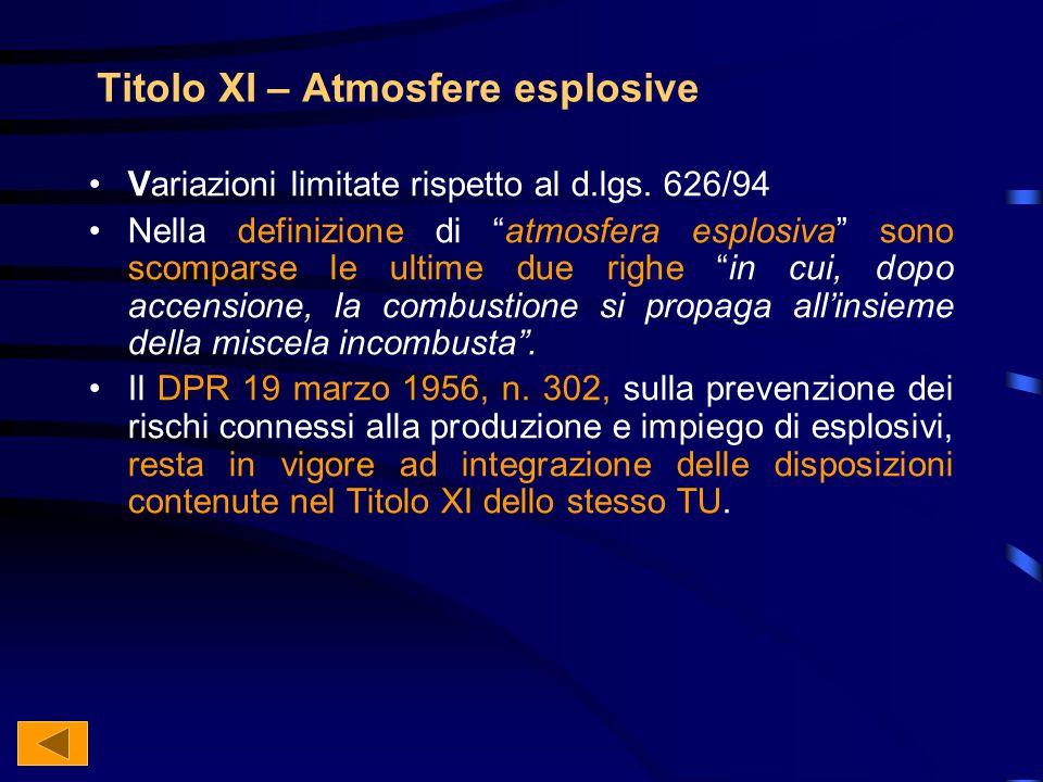 Titolo XI – Atmosfere esplosive Variazioni limitate rispetto al d.lgs.