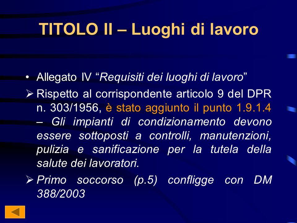 TITOLO II – Luoghi di lavoro Allegato IV Requisiti dei luoghi di lavoro Rispetto al corrispondente articolo 9 del DPR n.