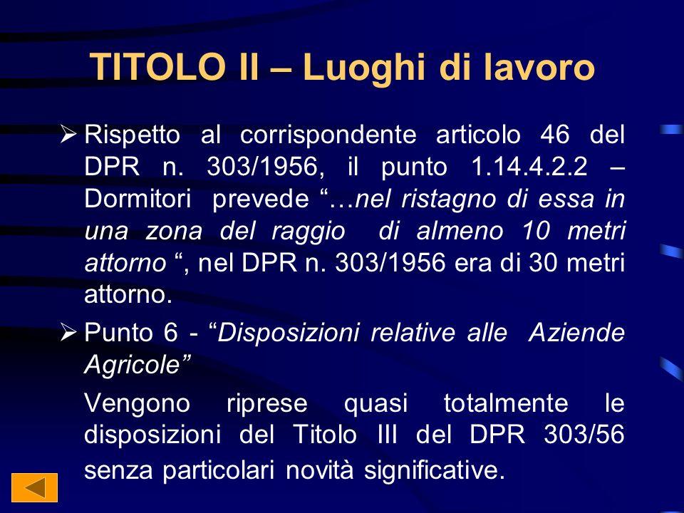 TITOLO II – Luoghi di lavoro Rispetto al corrispondente articolo 46 del DPR n.