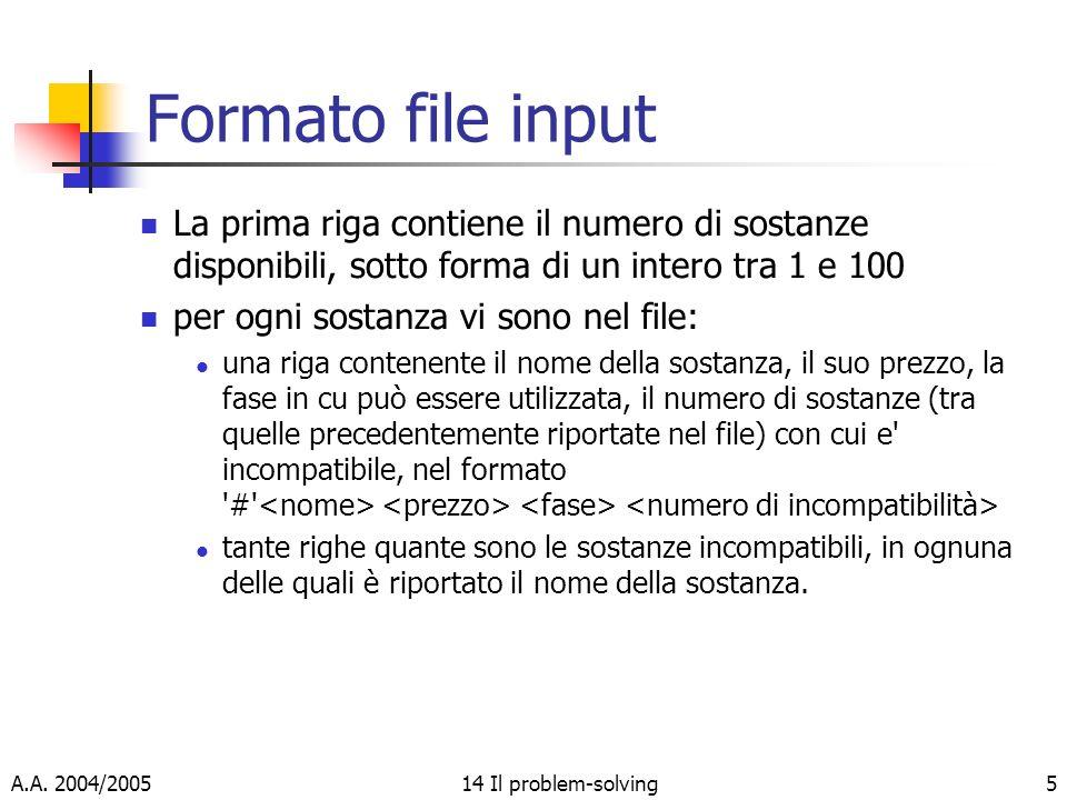 A.A. 2004/200514 Il problem-solving5 Formato file input La prima riga contiene il numero di sostanze disponibili, sotto forma di un intero tra 1 e 100