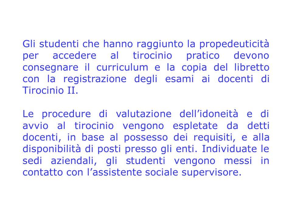 Gli studenti che hanno raggiunto la propedeuticità per accedere al tirocinio pratico devono consegnare il curriculum e la copia del libretto con la registrazione degli esami ai docenti di Tirocinio II.