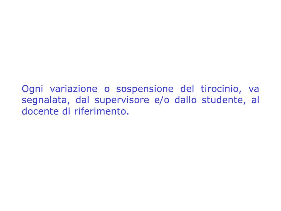 Ogni variazione o sospensione del tirocinio, va segnalata, dal supervisore e/o dallo studente, al docente di riferimento.