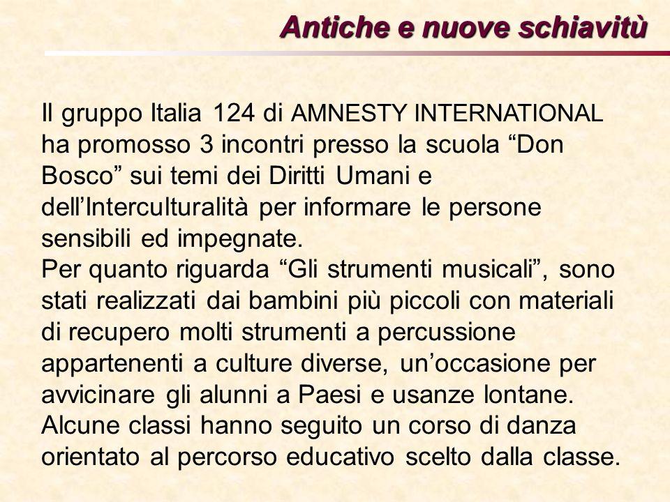 Antiche e nuove schiavitù Il gruppo Italia 124 di AMNESTY INTERNATIONAL ha promosso 3 incontri presso la scuola Don Bosco sui temi dei Diritti Umani e dellInterculturalità per informare le persone sensibili ed impegnate.